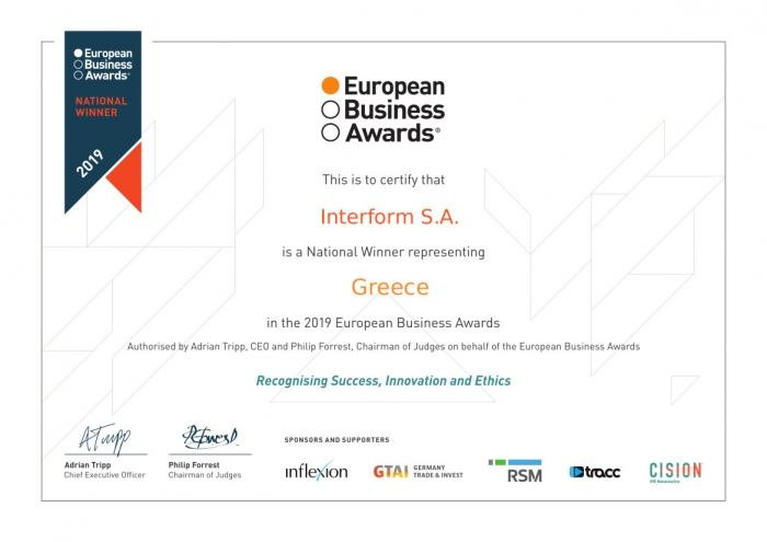 "Interform named ""National Winner"" in the ""Inflexion European Entrepreneur of the Year"" by EBA 2019"