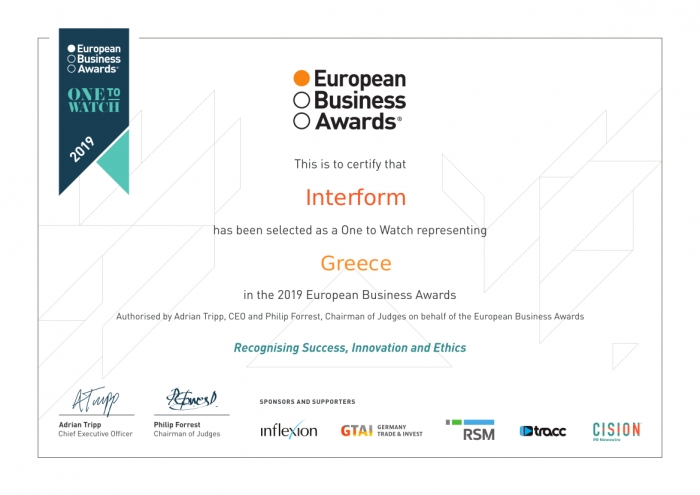 Interform named as one of Europe's best in 'Ones to Watch' list by EBA 2019